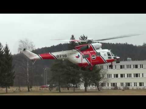 Testovací přistání armádního vrtulníku Letecké záchranné služby armády České republiky Plzeň – Líně.